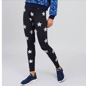 Terez | Silver Stars Foil Tall Band Leggings